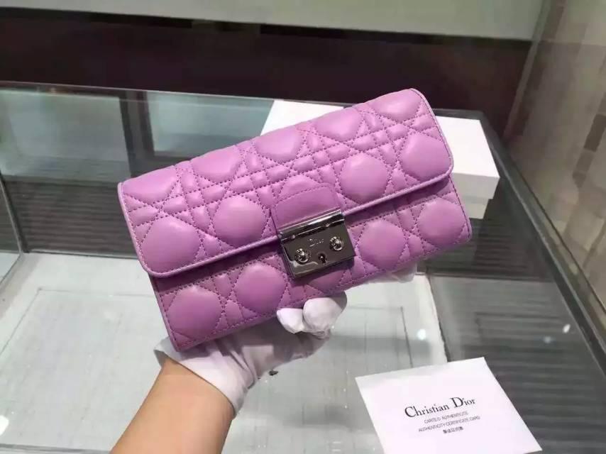 诚招代理 迪奥DIOR菱格顶级原版羊皮长款钱包 紫色女士锁扣手包钱夹