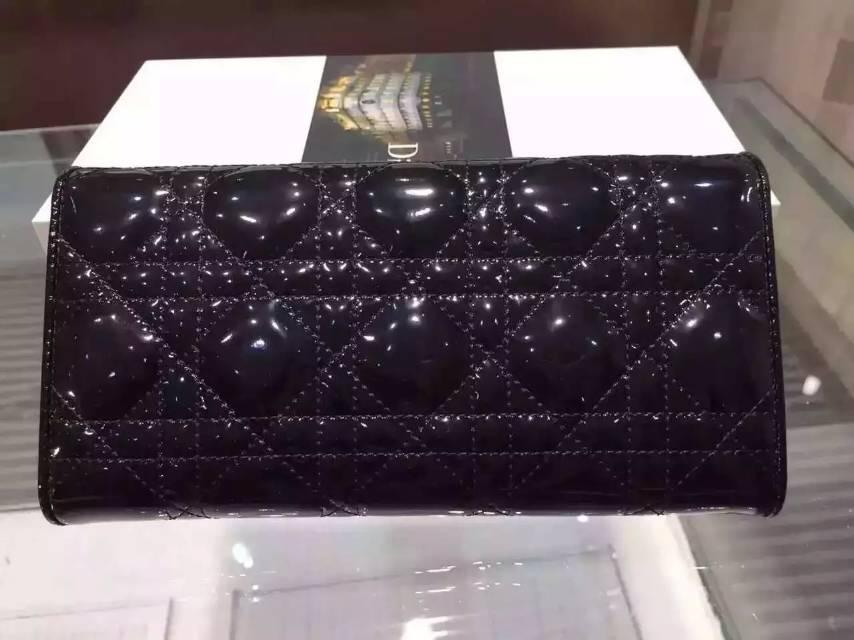高档女款钱包 Dior迪奥黑色漆皮锁扣钱夹 百搭时尚长款女钱包手包