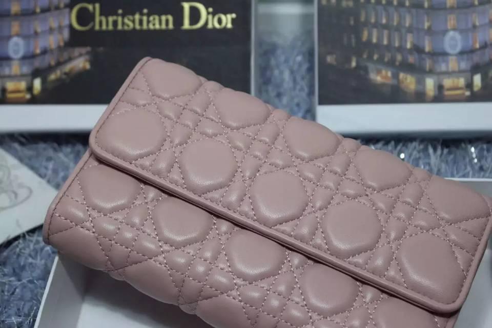厂家直销 迪奥DIOR原版皮钱包 浅粉色顶级羊皮菱格长款女钱夹时尚手包