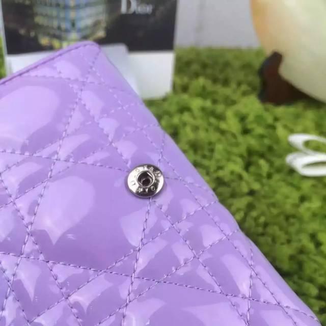 迪奥DIOR钱包 原版顶级紫色漆皮三折短款女款钱夹钱包