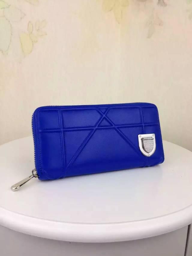 厂家直销 DIOR迪奥2015新款徽章款长款钱夹 电光蓝顶级羊皮女士拉链钱包手包
