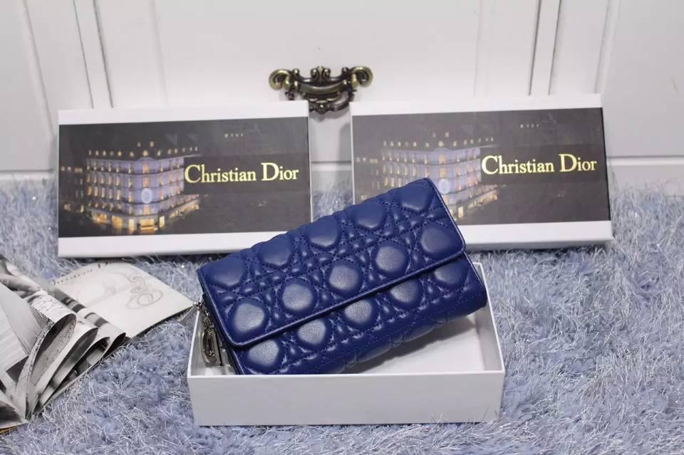 DIOR迪奥钱包批发 深蓝色原版顶级羊皮女士盖长款钱包手包卡包