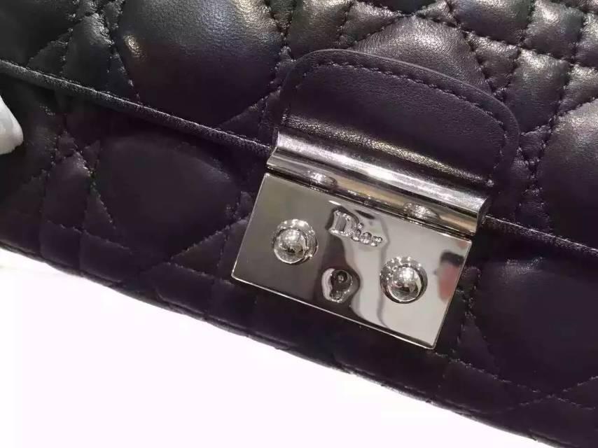 迪奥DIOR钱包批发 顶级原版羊皮锁扣钱夹 女士长款钱包手包 黑色