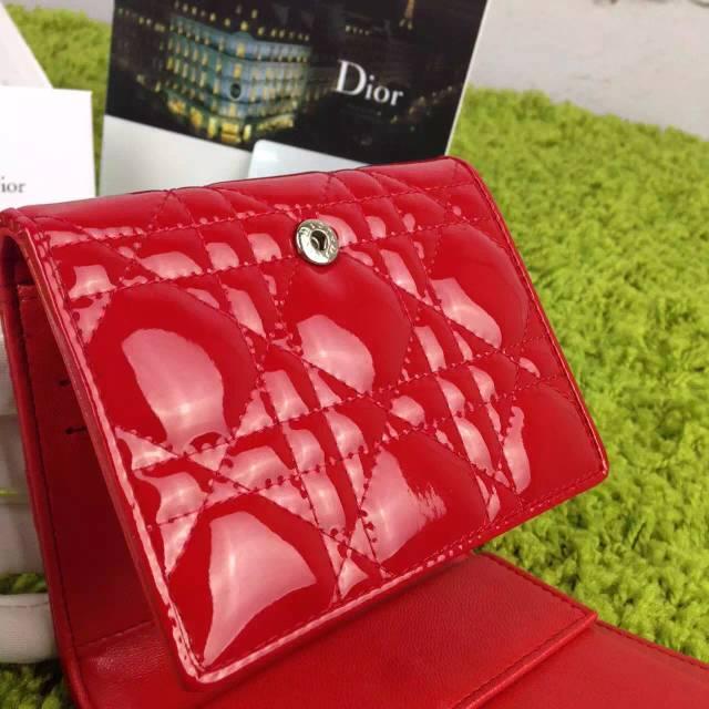 厂家直销 迪奥DIOR 原版顶级漆皮三折钱夹 时尚女士红色短款钱包卡包