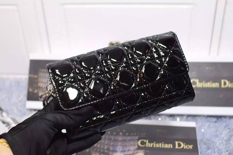 一件代发货 迪奥DIOR 黑色原版顶级漆皮女士翻盖长款钱夹手包