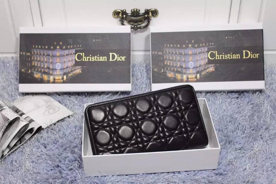 一件代发货 迪奥DIOR 黑色原版顶级羊皮菱格长款钱夹拉链钱包手包女款