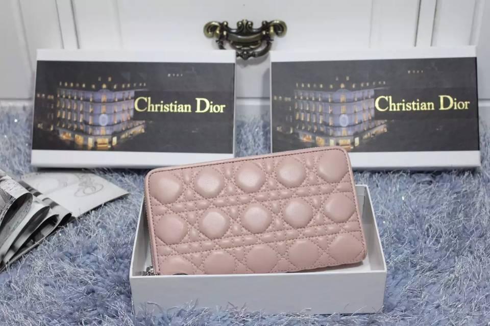 DIOR迪奥经典款 浅粉色顶级原版羊皮长款拉链钱包手包