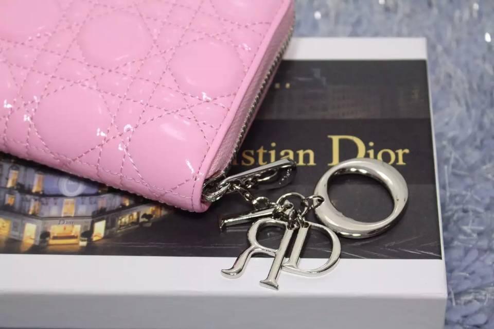迪奥DIOR钱包批发 樱花粉色原版顶级漆皮女士长款拉链钱夹手包