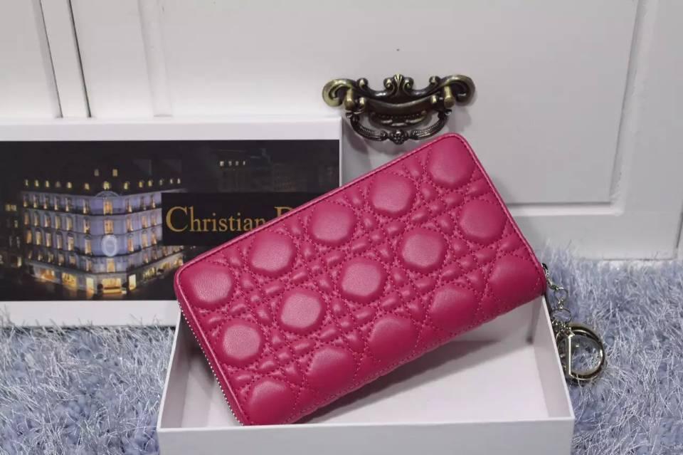 厂家直销 DIOR迪奥 原版羊皮菱格钱夹 时尚女士长款拉链钱包 玫红色