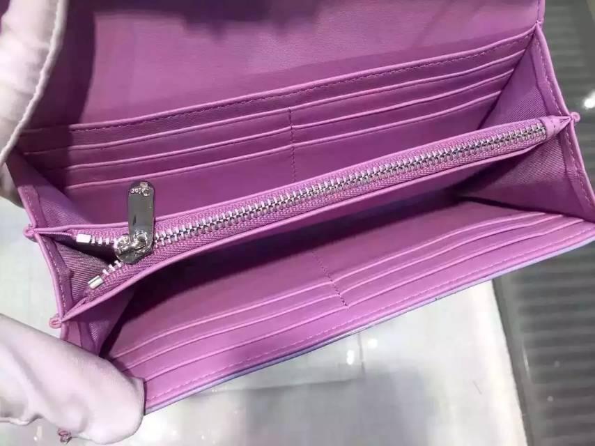 厂家直销 迪奥DIOR 紫色原版顶级漆皮菱格女士长款钱包手包