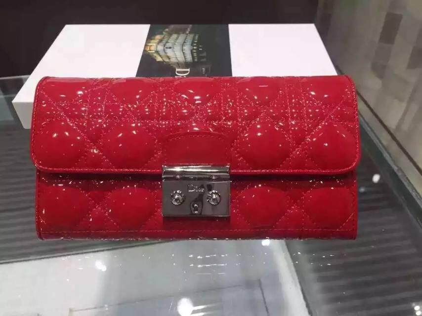 实拍 DIOR迪奥经典菱格长款钱包 漆皮女款锁扣钱夹手包 红色