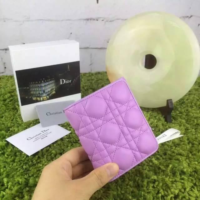广州白云皮具城 迪奥DIOR新款三折短款钱包 紫色顶级原版羊皮女款钱夹卡包