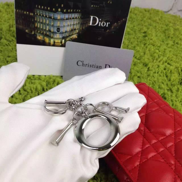 2015新款女士钱包 DIOR迪奥红色原版顶级羊皮菱格三折短款钱夹钱包