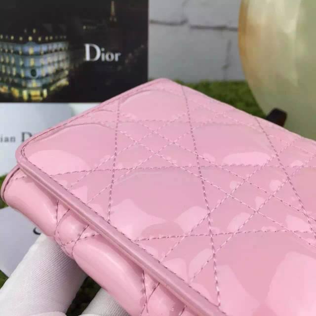 奢侈品钱包批发 DIOR迪奥新款粉色原版顶级漆皮三折短款钱包钱夹