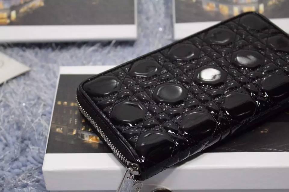 奢侈品钱包 迪奥DIOR钱包 黑色原版漆皮菱格长款拉链钱夹手包