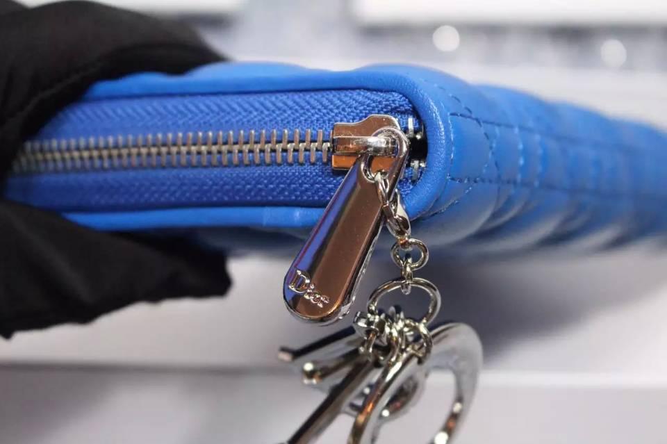 高档女士钱包批发 DIOR迪奥菱格原版羊皮钱包 百搭长款女手包钱夹 电光蓝
