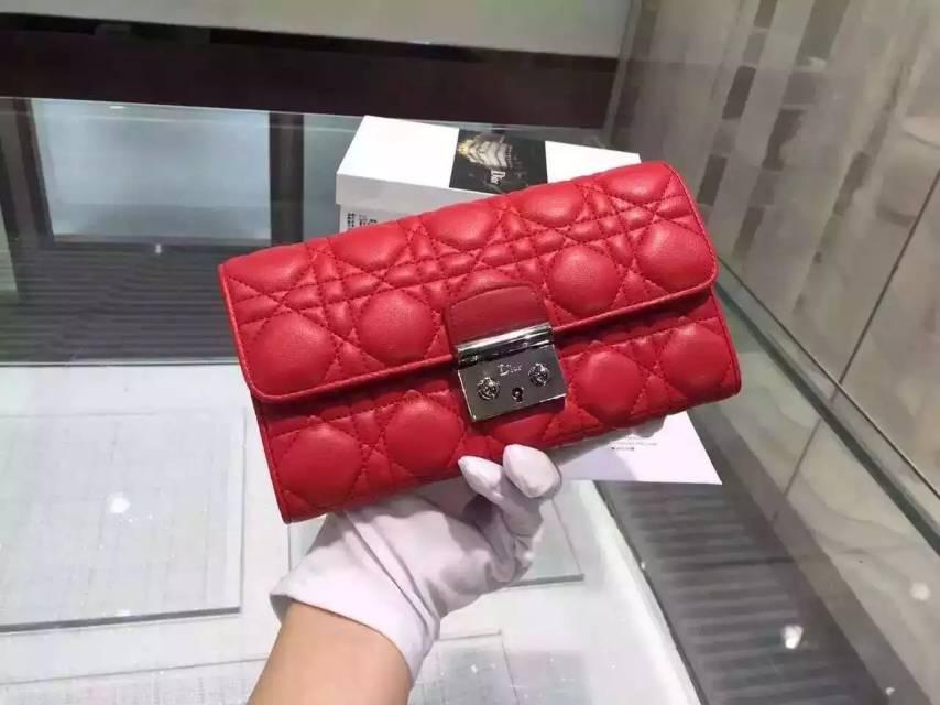 一件代发货 DIOR迪奥红色原版顶级羊皮锁扣女士长款钱包手包