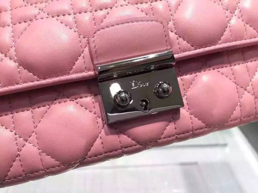DIOR迪奥2015新款 原版顶级羊皮菱格锁扣钱包 高档女士长款钱夹手包 粉色