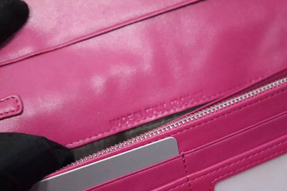 一件代发货 迪奥DIOR顶级原版羊皮翻盖长款钱包 女士手包玫红色