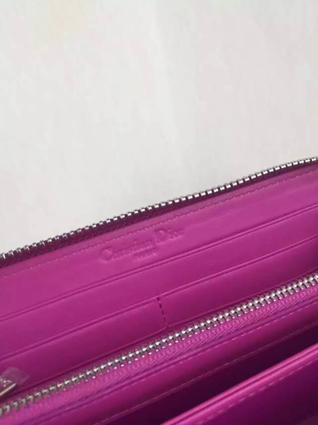 高档女士钱包批发 DIOR迪奥 玫红色顶级原版羊皮徽章款长款拉链钱包手包