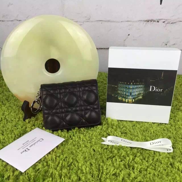 迪奥DIOR 三折短款钱包卡包 黑色顶级原版羊皮