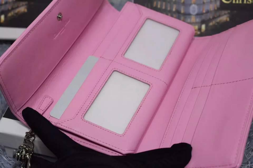 诚招代理 迪奥DIOR 原版顶级漆皮翻盖长款钱包 时尚樱花粉色菱格长款钱夹手包