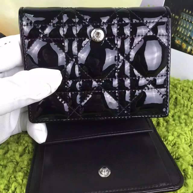 时尚女士钱包新款 迪奥DIOR原版顶级漆皮三折短款钱包卡包 黑色