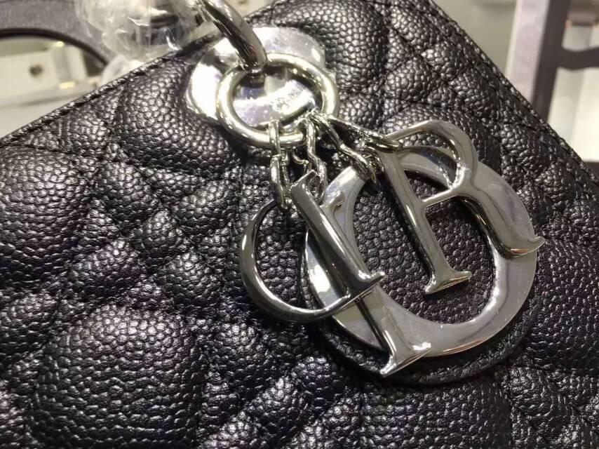 Dior女包代购 迪奥经典款五格戴妃包 黑色 顶级球纹皮