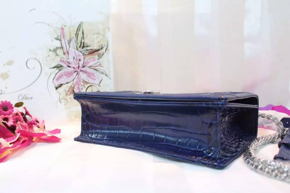 迪奥DIOR包包批发 Dior Ama原版鳄鱼纹牛皮单肩斜挎包25cm 蓝色