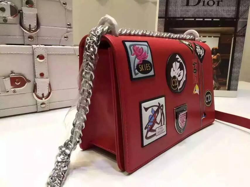 广州包包批发 Dior迪奥限量款包包 Diorama刺绣链条单肩包25cm 红色
