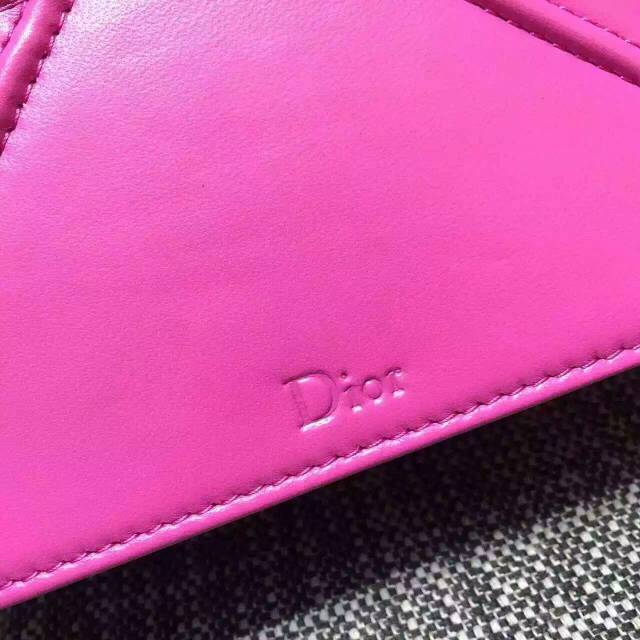 Dior迪奥女包批发 Diorama Mini迷你链条斜背包18cm 玫红色