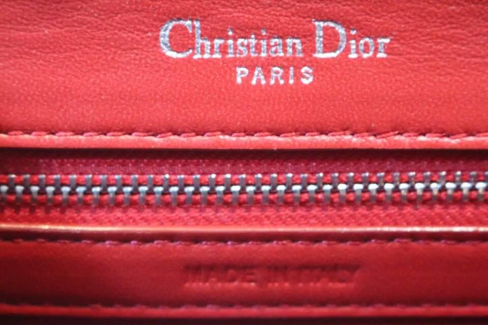 广州迪奥女包 Dior Ama 红色原版鳄鱼纹链条单肩斜挎包25cm