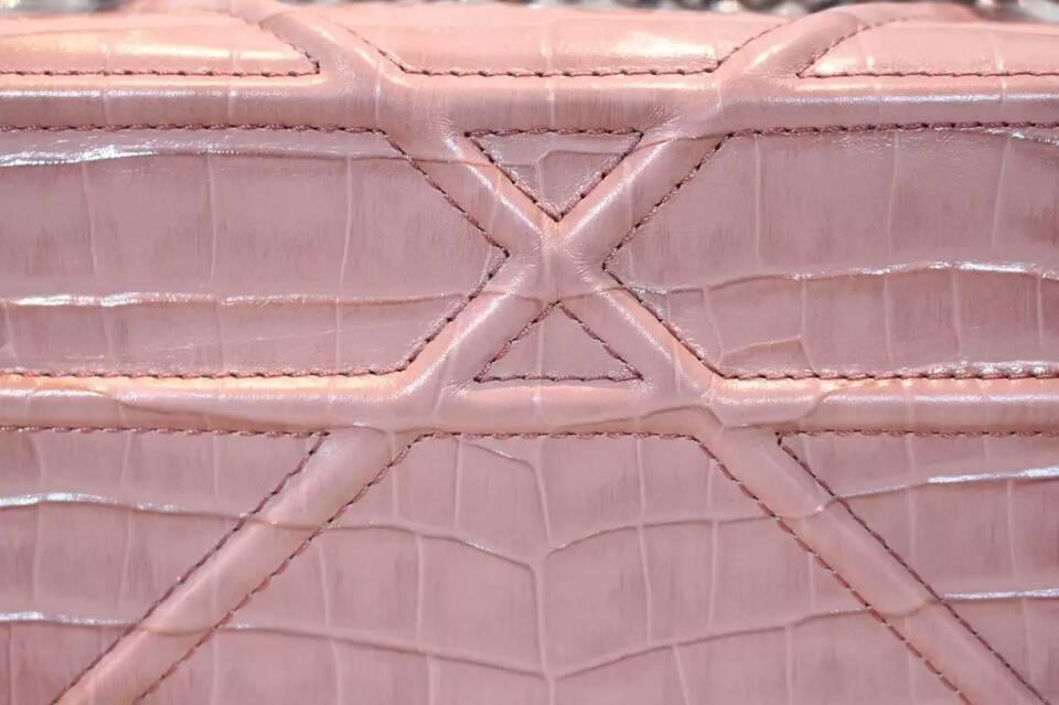 一件代发 迪奥Dior Ama鳄鱼纹原版皮链条单肩斜挎女包25cm 粉色