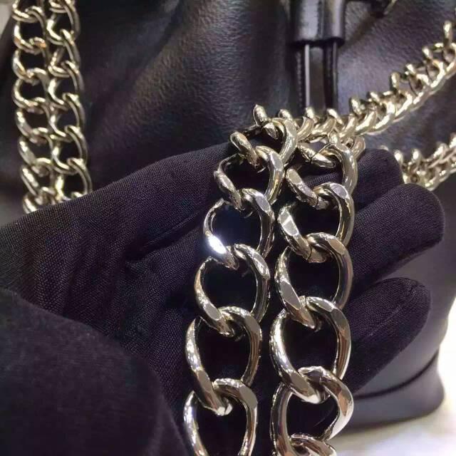 迪奥DIOR包包官网 黑色原版皮 迪奥水桶包链条单肩女包