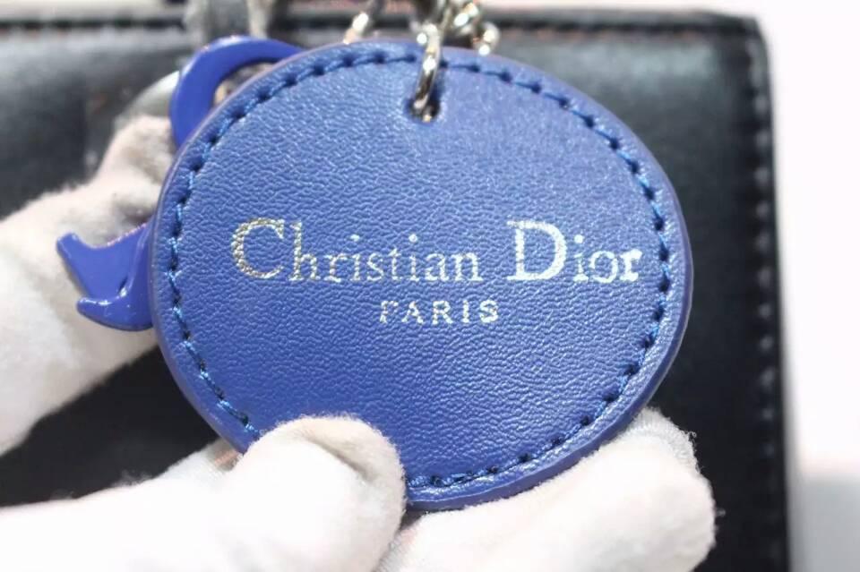 Lady Dior迪奥进口纳帕皮豹纹系列 手工绣花戴妃包 黑色