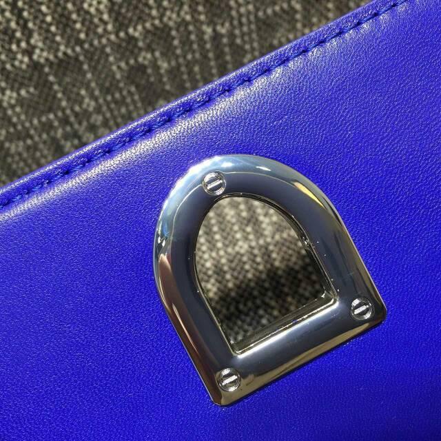 迪奥包包代购  Diorama Mini原版平纹皮链条肩背包18cm 蓝色