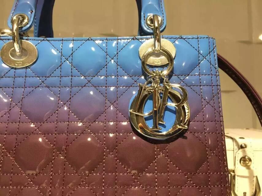 Dior迪奥新款戴妃包 原单漆皮渐变色五格戴妃包24cm 蓝色