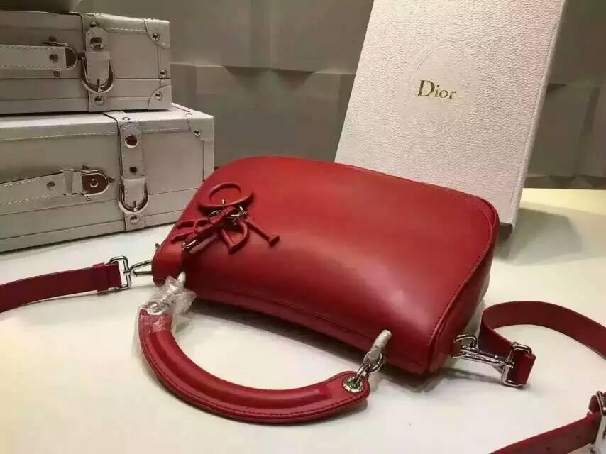 迪奥DIOR新款女包 红色原版南非牛皮 Dune系列手提包单肩包