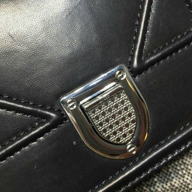 厂家直销 迪奥斜挎包 Diorama Mini18 黑色原版平纹牛皮女包