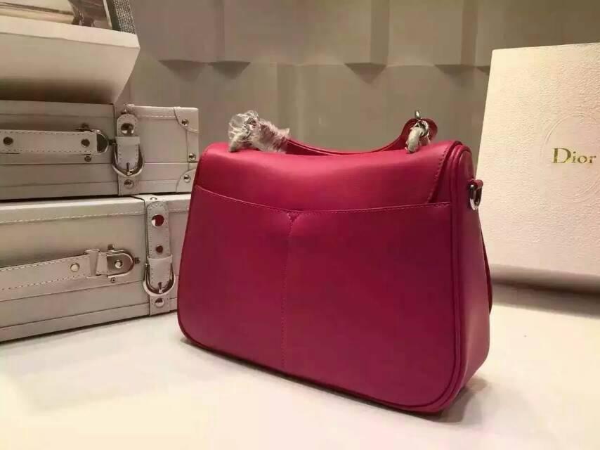 Dior包包价格 迪奥新款女包 Dune系列手提包 玫红原版南非牛皮