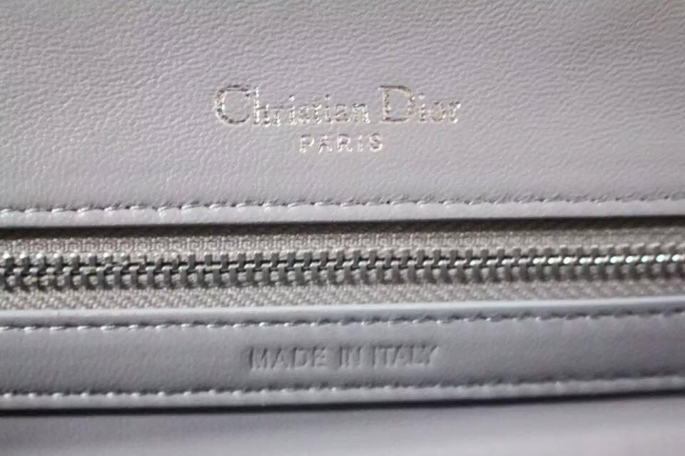 迪奥包包代购 Dior Ama原单灰色鳄鱼纹牛皮 链条肩背包25cm