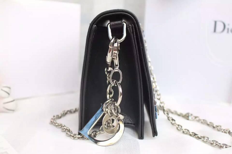 Dior包包官网 迪奥绣珠系列链条单肩女包 黑色原版皮