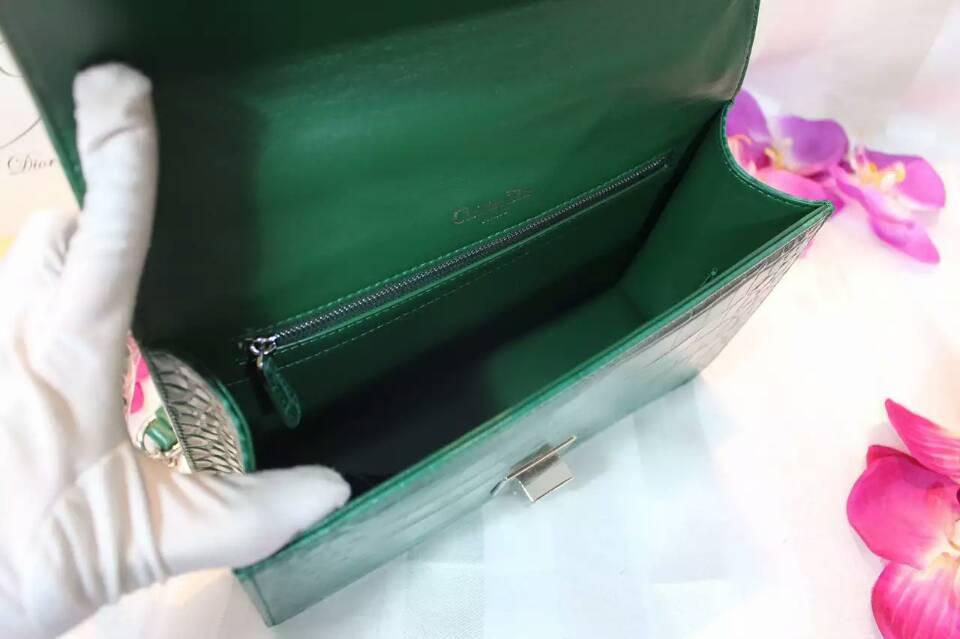 高档女包批发 迪奥Dior Ama原单货 鳄鱼纹牛皮链条包25cm 绿色