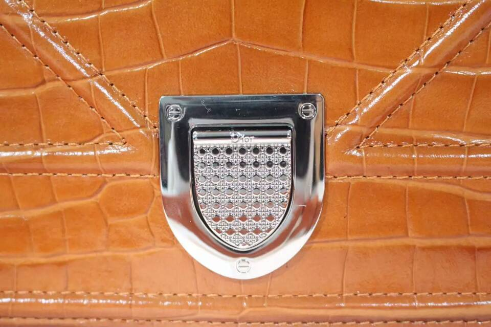 Dior迪奥女包官网 Dior Ama原单水货 橙色鳄鱼纹牛皮链条包25cm