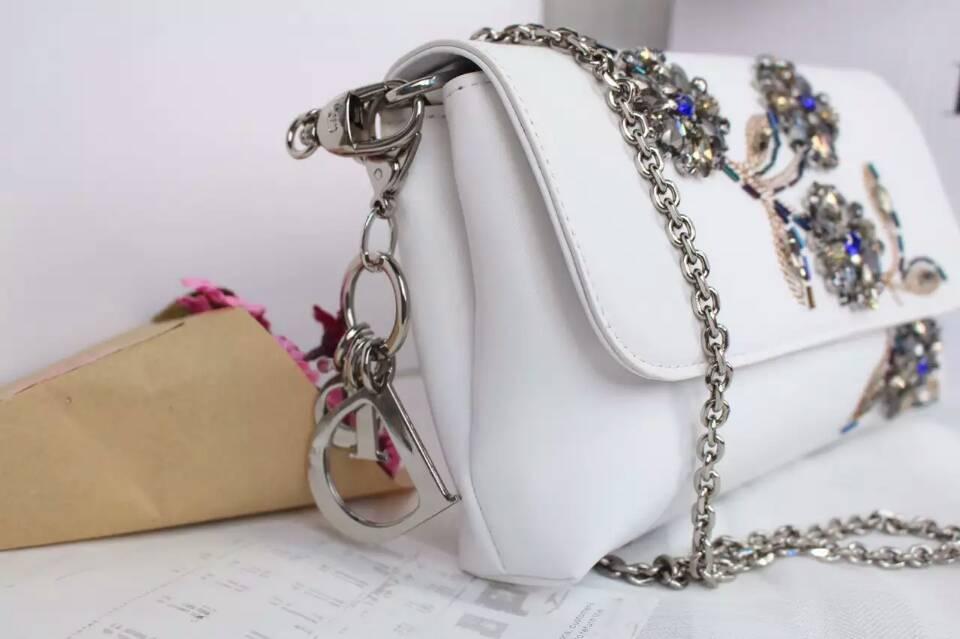 厂家直销 迪奥DIOR新款女包 白色原版皮手工绣珠链条手包单肩包