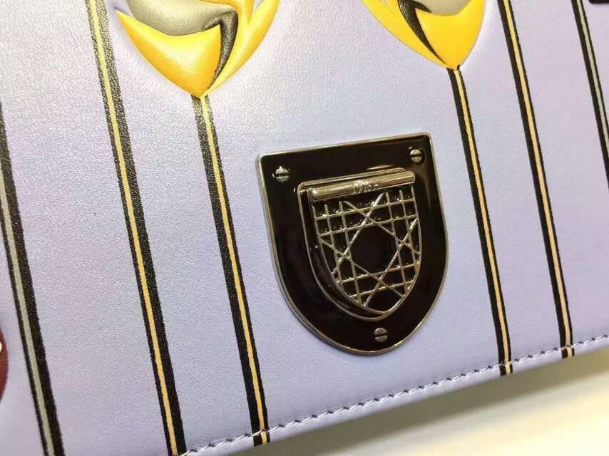 迪奥新款女包 Diorama蓝色原版皮花朵勋章刺绣款 链条包单肩包