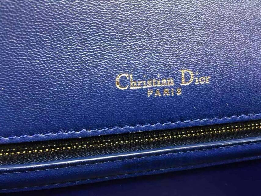 厂家直销 Dior新款包包 迪奥Ama蓝色原单羊皮铆钉肩背包25cm