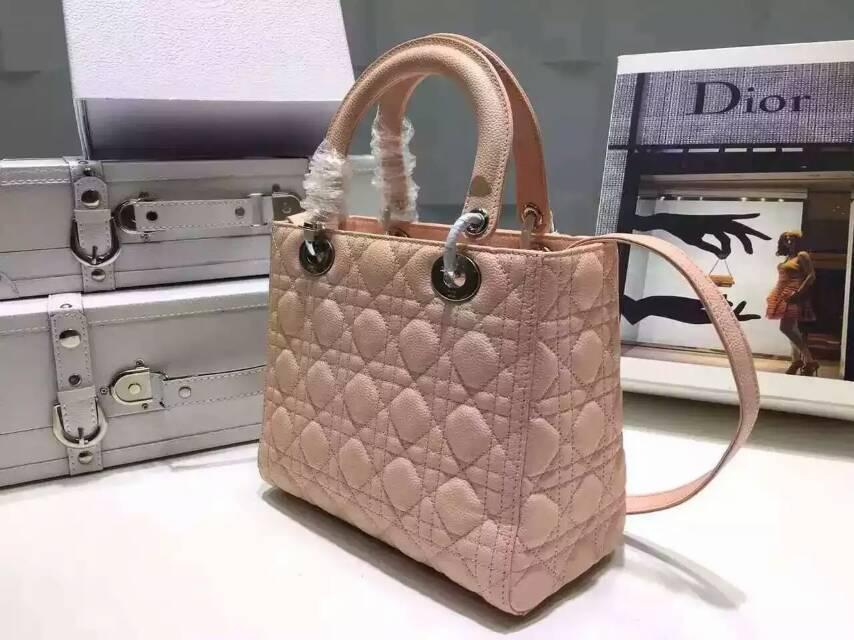 Lady Dior 迪奥五格戴妃包24cm 新款顶级球纹皮 粉色