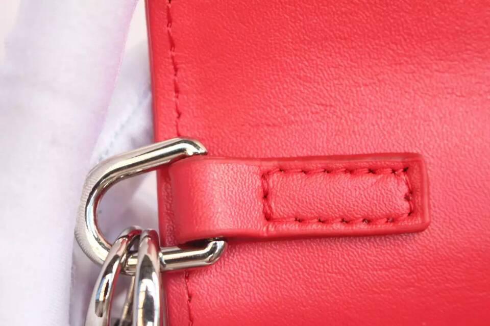 DIOR迪奥女包价格 新款绣珠系列红色原版平纹皮 链条单肩包