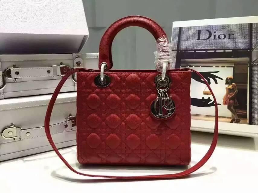 迪奥包包批发 Lady Dior 红色原版球纹皮迪奥五格戴妃包24cm
